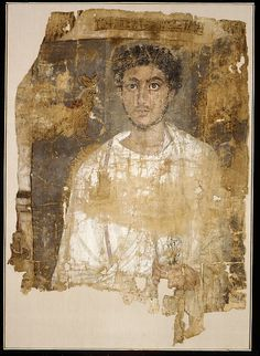 Fragmentary Shroud with a Bearded Young Man Period: Roman Period Date: A.D. 120–150 Geography: From Egypt Medium: Linen, tempera paint Dimensions: h. 100.6 cm (39 5/8 in); w. 69 cm (27 3/16 in) Credit Line: Rogers Fund, 1908 Accession Number: 08.202.8a