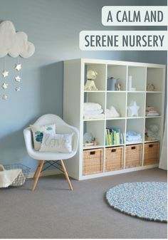 A light blue color in a bedroom will instantly bring a calming feel to the space. Try a BEHR paint hue like Midwinter Mist in your baby's nursery with all-white furniture for a serene look.
