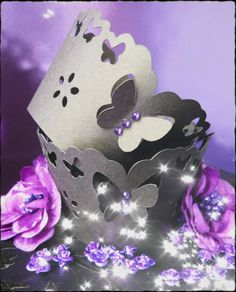 Black/purple Diamanté Butterfly cupcake wrappers. Beautiful 3D butterfly with sparkly diamanté detail.  £7.00 for 12 + post.