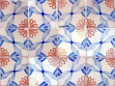 Tile Pattern :: Blue & Red Handmade tiles can be colour coordinated and customized re. shape, texture, pattern, etc. by ceramic design studios