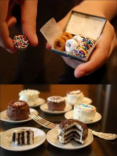 Cool post from The Unconfidential Cook here on Emmas Tiny Treats. Donuts are cheerios dipped in various things and the mini cakes are oreos with frosting and decoration. More mini food creations at the link above! Cute Food, Yummy Food, Tiny Cooking, Cooking Food, Mini Donuts, Cupcakes, Tiny Food, Mini Things, Mini Desserts
