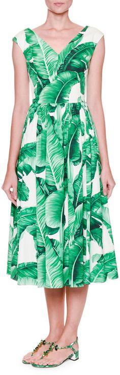Dolce & Gabbana Cap-Sleeve Banana Leaf-Print Midi Dress, White/Green