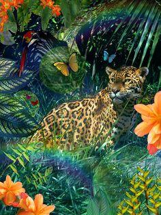 Jaguar Meadow Photograph by Alixandra Mullins Wildlife Paintings, Wildlife Art, Animal Paintings, Animal Drawings, Big Cats Art, Cat Art, Animal Jaguar, Art Tropical, Art Visionnaire
