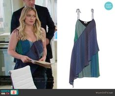 Kelsey's blue and green printed top on Younger.  Outfit Details: https://wornontv.net/80318/ #Younger