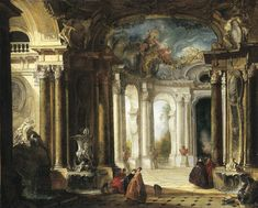 The interior of a Baroque palace with elegant company conversing by fountains by Jacques de Lajoue