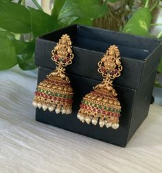 Antique gold finished ruby/emerald goddess Lakshmi Jhumkas /Indian jewelry/Women jhumki Earrings / bridal earrings / Temple Jhumka earrings