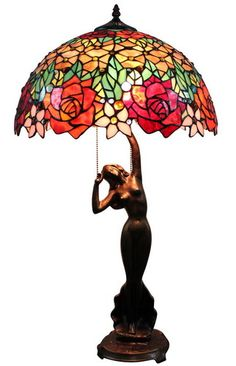 "Handcrafted Floral Styled Tiffany Style Stained Glass Table Lamp w 18"" Shade 