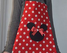 Minnie Mouse Apron, Party Apron, Womens Apron that is Reversible Wine Christmas Gifts, Cute Aprons, Mickey Head, Party Props, Hostess Gifts, Minnie Mouse, Projects To Try, Bows, Handmade Gifts