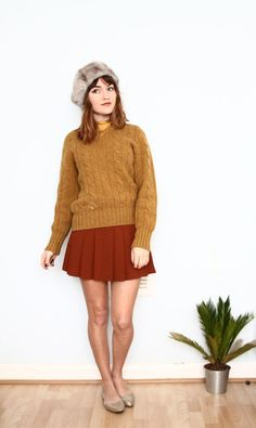 60s mustard wool pullover / cable knit sweater by aLaPlageVintage