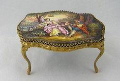 Antique VIENNESE ENAMEL Miniature Table Woman w/ Lamb...