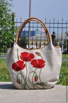 Женские сумки ручной работы. Заказать Льняная сумка с кожей