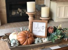 Hello pumpkin sign, fall sign, autumn sign, gift - X-Mas Easter Halloween Deco DIY - Fall decor ideas Fall Home Decor, Autumn Home, Autumn Fall, Fall Kitchen Decor, Fall Apartment Decor, Fall Mantle Decor, Front Porch Fall Decor, Fall Porches, Rustic Fall Decor