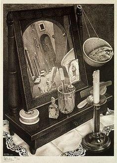 M. C. Escher - NATURA MORTA CON SPECCHIO - litografia - 1934