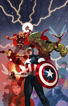 Secret Wars - Avengers by Paul Renaud * Avengers Cartoon, Marvel Avengers Comics, Marvel Avengers Assemble, Avengers Art, Marvel Heroes, Ms Marvel, Marvel Art, Captain Marvel, Captain America