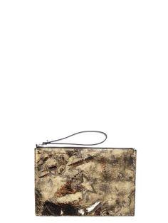 MCQ BY ALEXANDER MCQUEEN Mcq Alexander Mcqueen Metallic Leather Clutch. #mcqbyalexandermcqueen #bags #leather #clutch #metallic #hand bags #