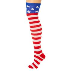 Show off your red, white and blue from your head to toes with this pair of over the knee socks. The festive socks glow in the dark and are designed with a stars and stripes pattern like the American flag.
