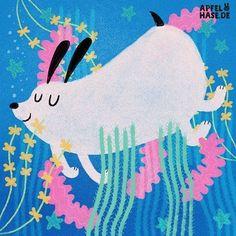 Apfelhase illustration #100dayproject #100daysofweirddogs Weird dogs, dog, Hund, Hunde, komisch, Illustration, drawing, character illustration, ocean, Meer, Frühling, spring