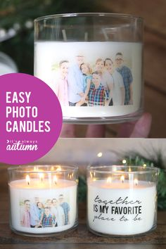 to make personalized candles [cheap + easy handmade gift Gorgeous personalized photo candles! Easy and inexpensive handmade gift. Easy and inexpensive handmade gift. Diy Gifts For Christmas, Homemade Christmas, Thoughtful Christmas Gifts, Xmas, Mason Jar Crafts, Mason Jar Diy, Bottle Crafts, Cheap Candles, Easy Handmade Gifts