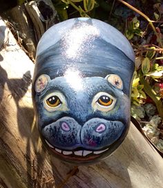 Hippo hand painted rock from cobblecreatures.com