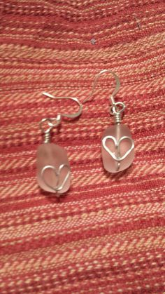 Sea Glass Wire Wrapped Dangle Earrings / Light Pink / Heart