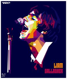Liam Gallagher WPAP by bennadn on DeviantArt Liam Gallagher Album, Art Music, Music Artists, Liam Oasis, Logo Ig, Oasis Music, Oasis Band, Stone Art Painting, Rock Band Posters