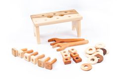 Wooden Tools Montessori Toy  Cherry Hardwood by asummerafternoon, $50.00