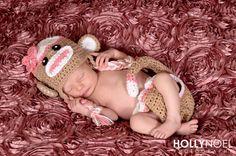 Pink sock monkey hat and diaper cover, newborn photo prop, baby Halloween costume Crochet Unicorn Pattern Free, Crochet Unicorn Hat, Crochet Baby Socks, Crochet Scarf Easy, Sock Monkey Costumes, Sock Monkey Hat, Baby Halloween Costumes, Halloween Kostüm, Newborn Photo Props