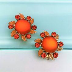 Vintage Earrings, Clip On Earrings, Orange Art, Art Deco Era, Vintage Signs, Crystal Necklace, Bright Pink, Earring Set, Rhinestones