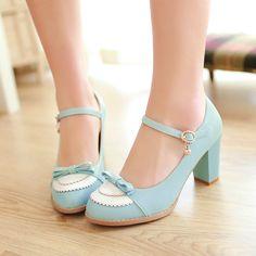 sapatos de casamento namoro mulher de moda elegante Mary Janes bowtie grosso com salto alto senhoras bombas sapatos grandes Bombas femininas tamanho-in de sapatos em Aliexpress.com | Alibaba Group