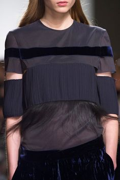 Blue top with mixed panels & textures; fashion details // Gabriele Colangelo Spring 2016