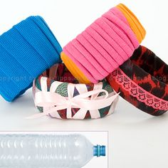 How to Make Cuff Bracelets From Plastic Bottles. #greencrafts #repurpose #diyjewelry