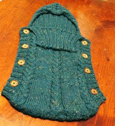 Baby Bunting/Swaddle with hood handknit with by TheMadKnitterShop, $65.00