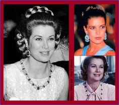 PRINCESS GRACE AND VAN CLEFF & ARPELS - Os brincos de rubis da foto em preto e branco, os brincos de turquesa usados por sua filha Caroline e o colar de ônix da coleção Alhambra da Van Cleef ...Pesquisa Google
