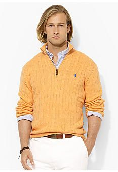 Polo Ralph Lauren Half-Zip Cable-Knit Tussah Silk Sweater
