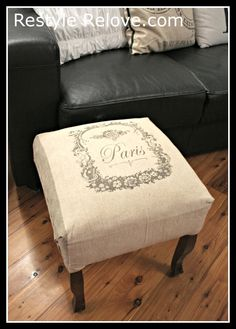 How about printing and decoupaging something like this on the craft room storage center's doors...? Restyle Relove: My Fabulous Little French Foot Stool!