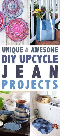 These Unique and Awesome DIY Upcycle Jean Projects are going to totally inspire you to create something fabulous! Jean Crafts, Denim Crafts, Diy And Crafts, Sewing Projects, Craft Projects, Sewing Ideas, Sewing Crafts, Craft Ideas, Diy Clothes
