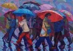 pinturas de mujeres con paraguas y sombrillas - Buscar con Google