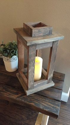 17 DIY Candle Holders Ideas That Can Beautify Your Room - EnthusiastHome - - Rustic Lantern, Outdoor Lantern, Rustic Reclaimed Wood Lantern Candle Holder. Home Decor Vintage Rustic Wedding Mother's Day gift. Wood Home Decor, Vintage Home Decor, Diy Home Decor, Vintage Diy, Vintage Wood, French Vintage, Lantern Candle Holders, Candle Lanterns, Rustic Candle Holders
