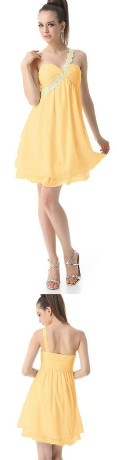 Yellow Chiffon Padded Rhinestone Dress! Click The Image To Buy It Now or Tag Someone You Want To Buy This For. #MiniDress