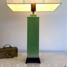 Green Mid Century Hollywood Regency Art Deco Skyscraper Ceramic Lightolier Lamp #Lightolier
