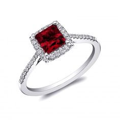 Platinum ring from Coast Diamond Signature Color Collection with princess cut pigeon's blood red ruby surrounded by diamonds. A Platinum Pick. Perfect Engagement Ring, Engagement Jewelry, Diamond Engagement Rings, Halo Engagement, Wedding Jewelry, Bling Bling, Metal Jewelry, Fine Jewelry, Jewellery Rings
