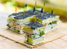 This Sushi Napoleon is a stunning new way to enjoy vegan sushi! I failed horribly at sushi rolls the last time I tried, so this might be my solution. Sushi Recipes, Asian Recipes, Vegetarian Recipes, Healthy Recipes, Avocado Recipes, Cake Recipes, Oshi Sushi, Vegan Sushi, Vegan Food