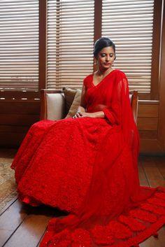 Bridal Lehengas - Classic red bridal lehenga, modern lehenga with threadwork | WedMeGood #wedmegood #bridal #lehenga