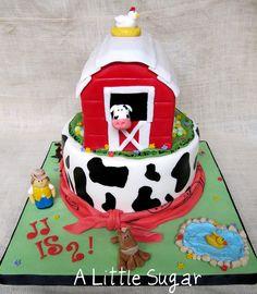 Old MacDonald by A Little Sugar, via Flickr Farm Birthday Cakes, 2nd Birthday Party Themes, Farm Animal Birthday, Birthday Cake Girls, Birthday Cake Toppers, Old Macdonald Birthday, Mcdonalds Birthday Party, Barn Cake, Farm Animal Cakes