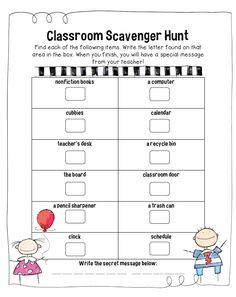 Cute idea - classroom scavenger hunt to find letters, then use the letters to spell the secret message. Kids (and parents) have fun and get to explore their new room! Classroom Scavenger Hunt, Preschool Classroom, Classroom Activities, Classroom Organization, Work Activities, 1st Day Of School, Beginning Of The School Year, Letter Find, Back To School Activities