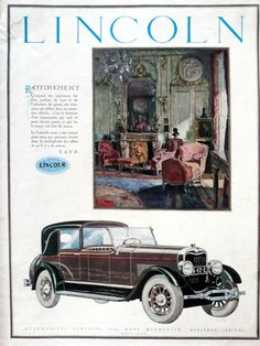 LINCOLN vintage art deco advertising page, car poster, automobiles ad…
