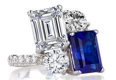 Toi et Moi Emerald Cut Diamond & Sapphire Engagement Ring in 14K White Gold by Heidi-Vogel