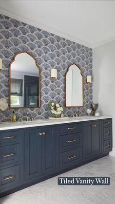 Bathroom Renos, Bathroom Renovations, Small Bathroom, Master Bathrooms, Blue Bathroom Vanity, Bathroom Wallpaper, Pool House Bathroom, Blue Bathrooms, Master Bath Vanity