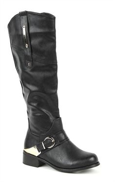 Deb Shops Tall Flat Riding #Boot with Buckled Strap with Gold Detail $44.90