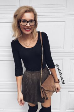 Dressy winter/fall outfit pleated skirt glasses fashion @racheleudaley